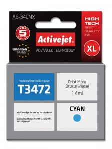 Tusz ActiveJet zamiennik do Epson T3472 - Cyan (14 ml)