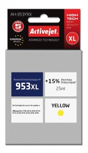 Tusz Activejet zamiennik do HP 953XL (F6U18AE) - Żółty/Yellow (25 ml)