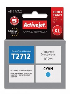 Tusz Activejet do Epson T2712 - Cyan (18,2 ml)